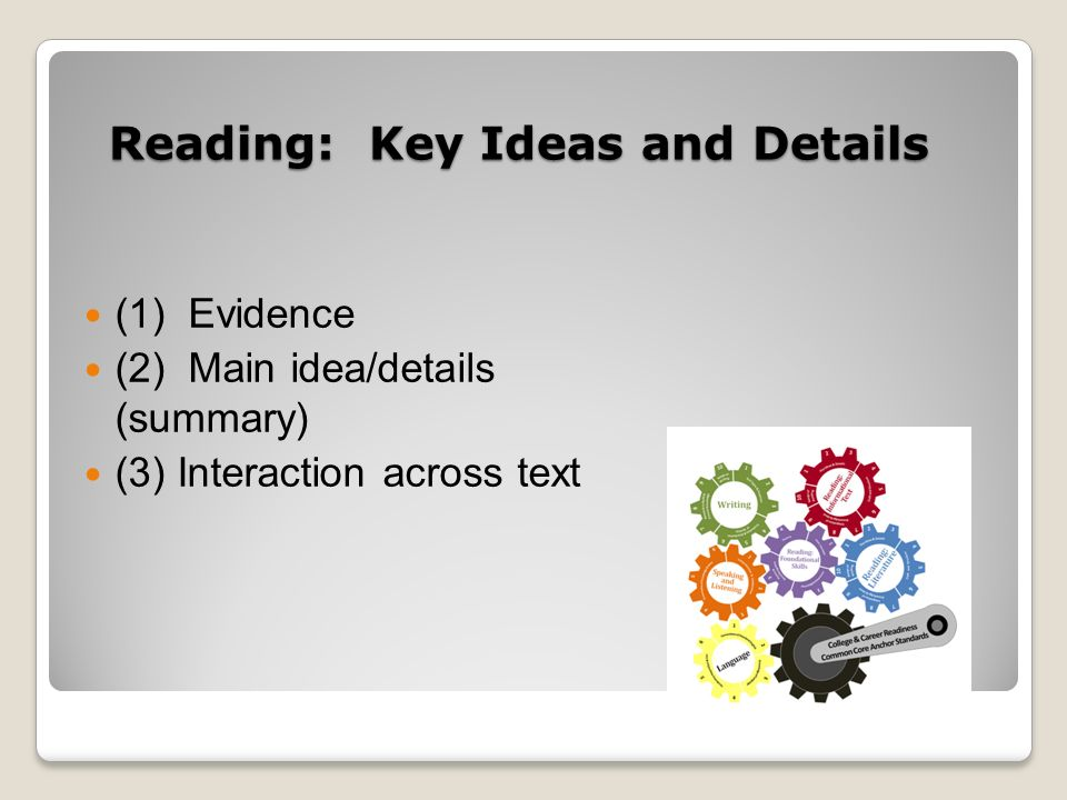 Reading: Key Ideas and Details (1) Evidence (2) Main idea/details (summary) (3) Interaction across text