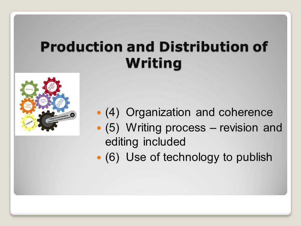 Production and Distribution of Writing (4) Organization and coherence (5) Writing process – revision and editing included (6) Use of technology to pub