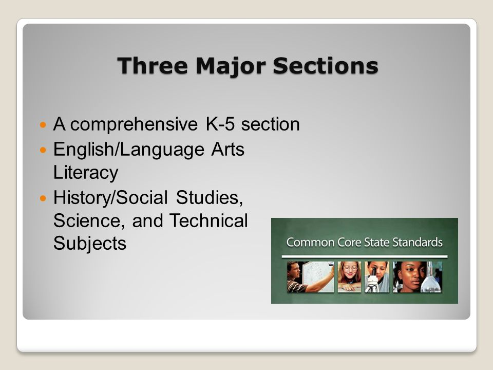 Three Major Sections A comprehensive K-5 section English/Language Arts Literacy History/Social Studies, Science, and Technical Subjects