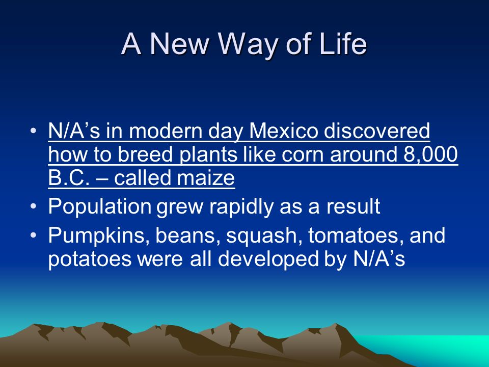 A New Way of Life N/As in modern day Mexico discovered how to breed plants like corn around 8,000 B.C. – called maize Population grew rapidly as a res