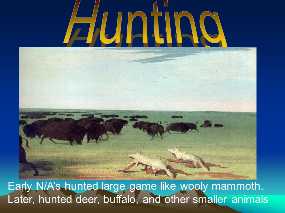 Early N/As hunted large game like wooly mammoth. Later, hunted deer, buffalo, and other smaller animals