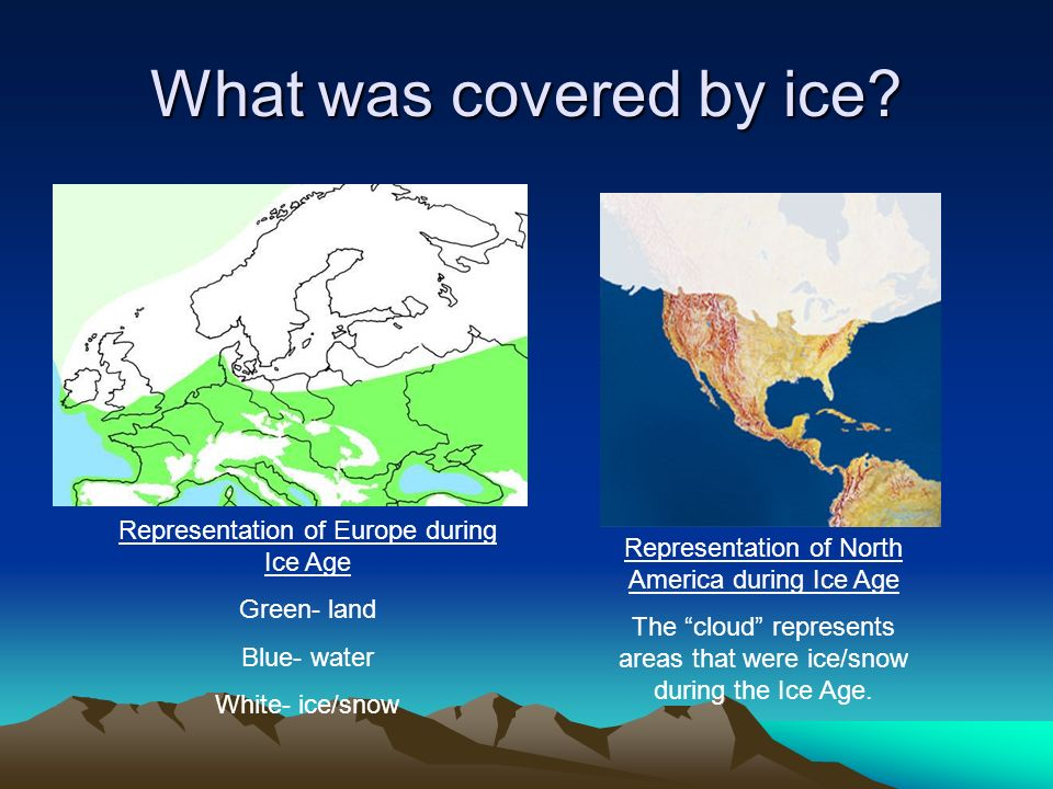 What was covered by ice? Representation of Europe during Ice Age Green- land Blue- water White- ice/snow Representation of North America during Ice Ag
