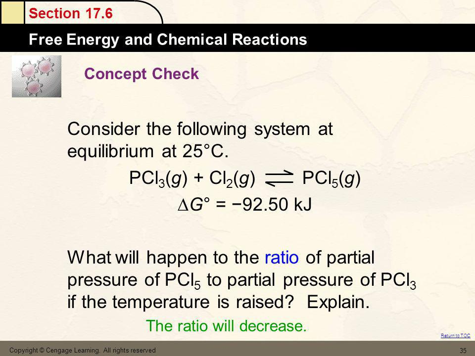 Section 17.6 Free Energy and Chemical Reactions Return to TOC Copyright © Cengage Learning. All rights reserved 35 Concept Check Consider the followin