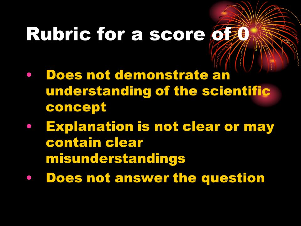 Rubric for a score of 0 Does not demonstrate an understanding of the scientific concept Explanation is not clear or may contain clear misunderstanding