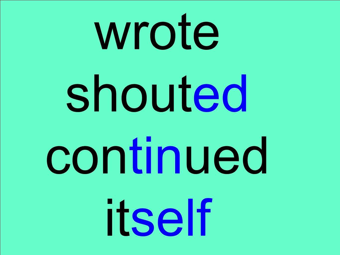 wrote shouted continued itself
