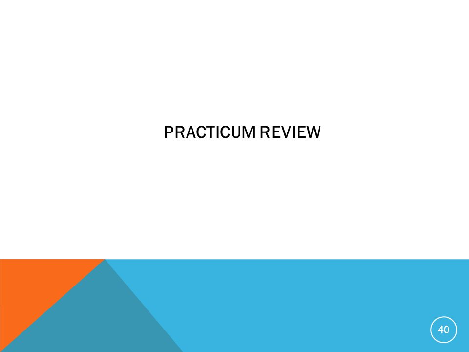 PRACTICUM REVIEW 40