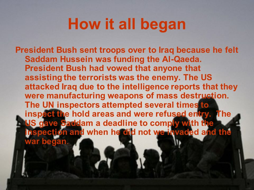 Contents How it all began What we are fighting for What is going on right now The jobs soldiers perform Timeline Quiz Bibliography