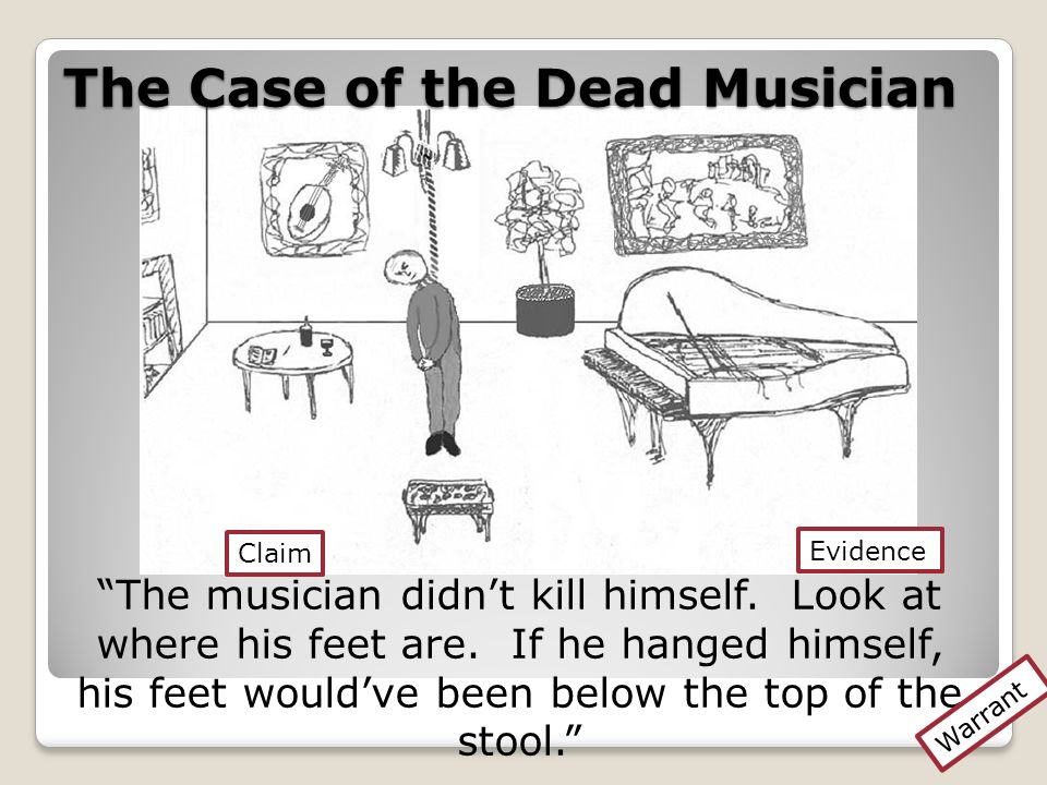 The Case of the Dead Musician The musician didnt kill himself. Look at where his feet are. If he hanged himself, his feet wouldve been below the top o