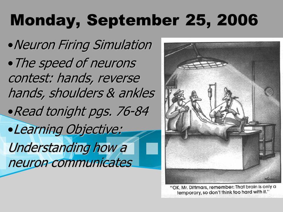 Monday, September 25, 2006 Neuron Firing SimulationNeuron Firing Simulation The speed of neurons contest: hands, reverse hands, shoulders & anklesThe speed of neurons contest: hands, reverse hands, shoulders & ankles Read tonight pgs.