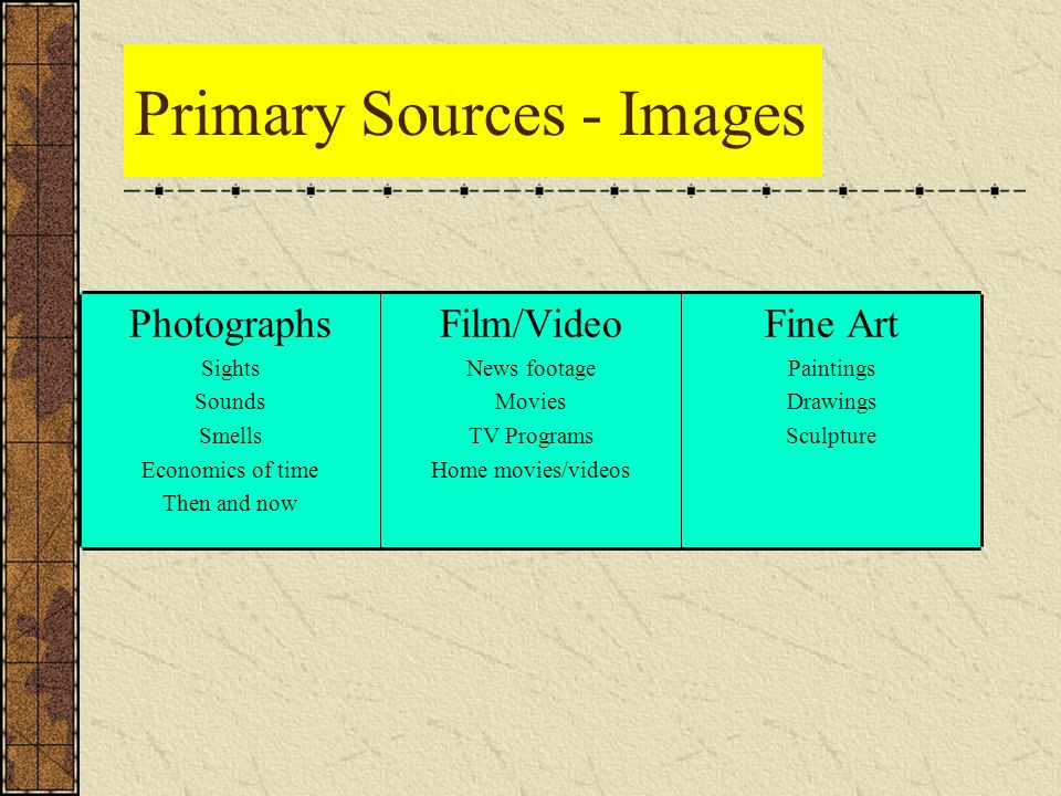 Primary Sources - Images Fine Art Paintings Drawings Sculpture Film/Video News footage Movies TV Programs Home movies/videos Photographs Sights Sounds Smells Economics of time Then and now