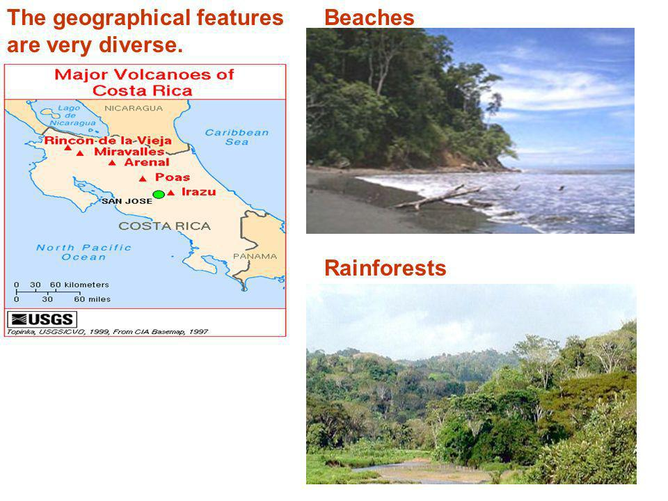 Geography of Costa Rica The country is divided by a backbone of volcanoes and mountains, an extension of the Andes-Sierra Madre chain which runs along the western side of the Americas.