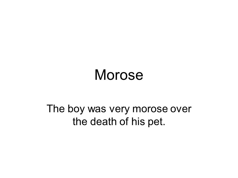 Morose The boy was very morose over the death of his pet.