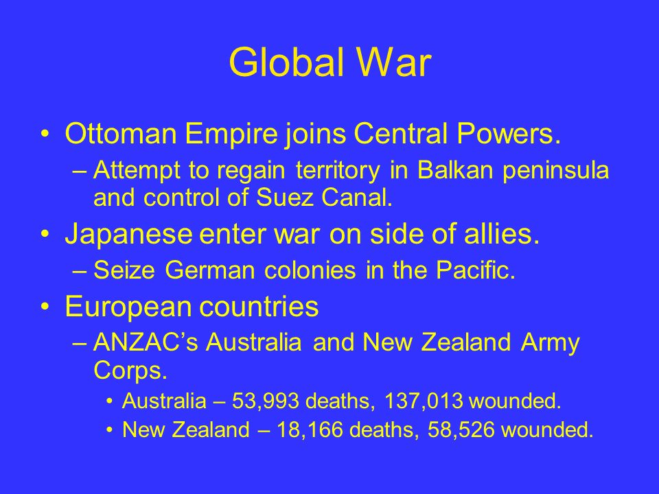 Global War Ottoman Empire joins Central Powers. –Attempt to regain territory in Balkan peninsula and control of Suez Canal. Japanese enter war on side