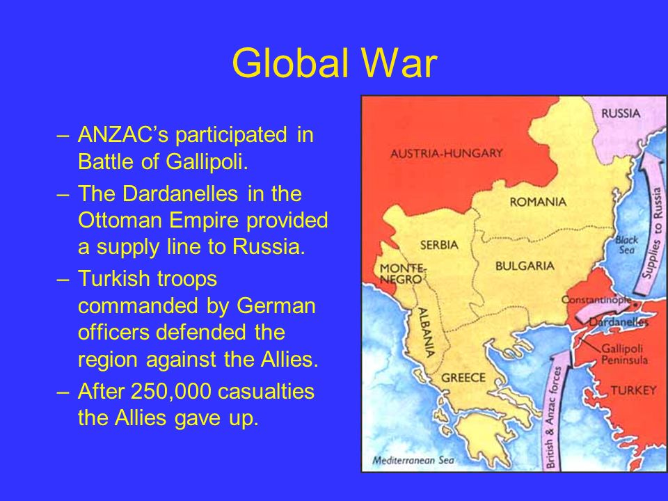 Global War –ANZACs participated in Battle of Gallipoli.