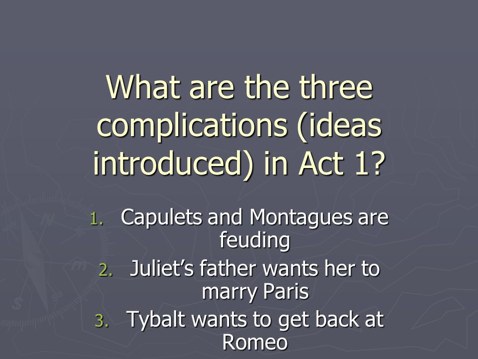 What are the three complications (ideas introduced) in Act 1.