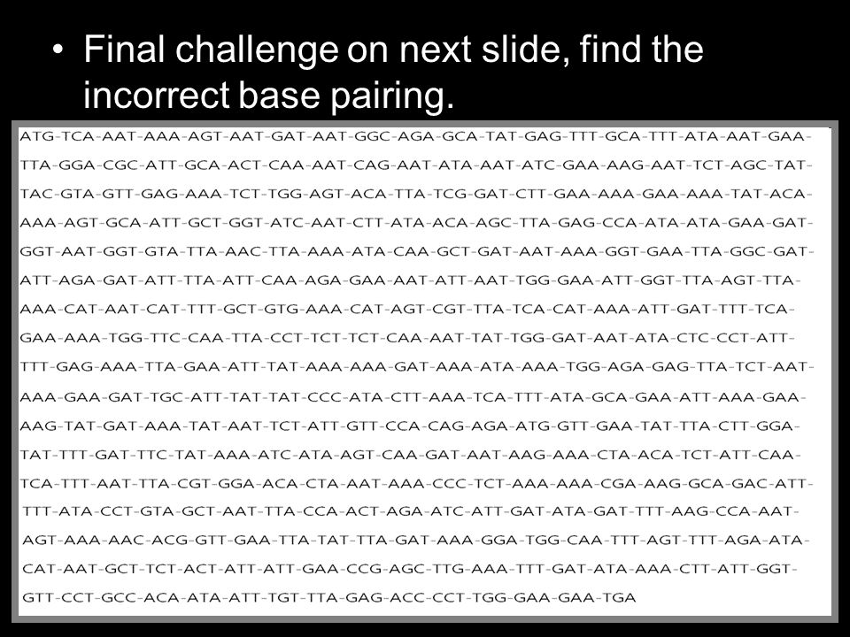 Final challenge on next slide, find the incorrect base pairing.