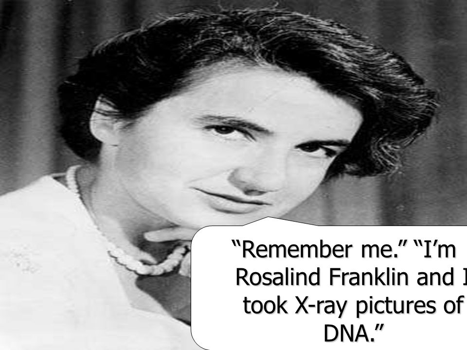 Remember me. Im Rosalind Franklin and I took X-ray pictures of DNA.