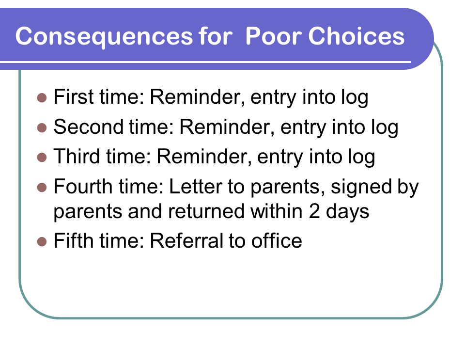 Consequences for Poor Choices First time: Reminder, entry into log Second time: Reminder, entry into log Third time: Reminder, entry into log Fourth t