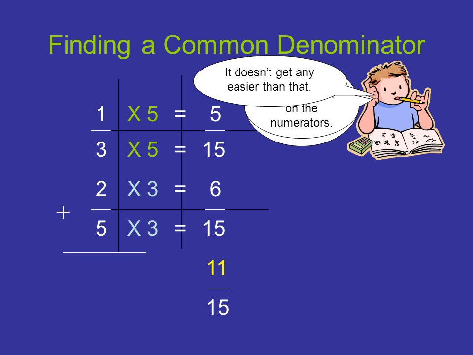 The denominator will be the same. Finding a Common Denominator 1 5 2 3 15 X 5 X 3 = = = = 5 6 15 11 Use addition on the numerators. It doesnt get any