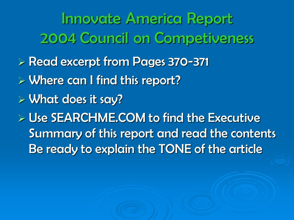 Innovate America Report 2004 Council on Competiveness Read excerpt from Pages 370-371 Read excerpt from Pages 370-371 Where can I find this report.