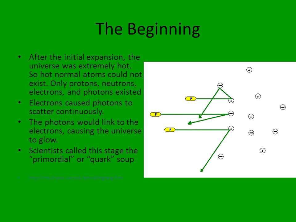 The Beginning After the initial expansion, the universe was extremely hot. So hot normal atoms could not exist. Only protons, neutrons, electrons, and
