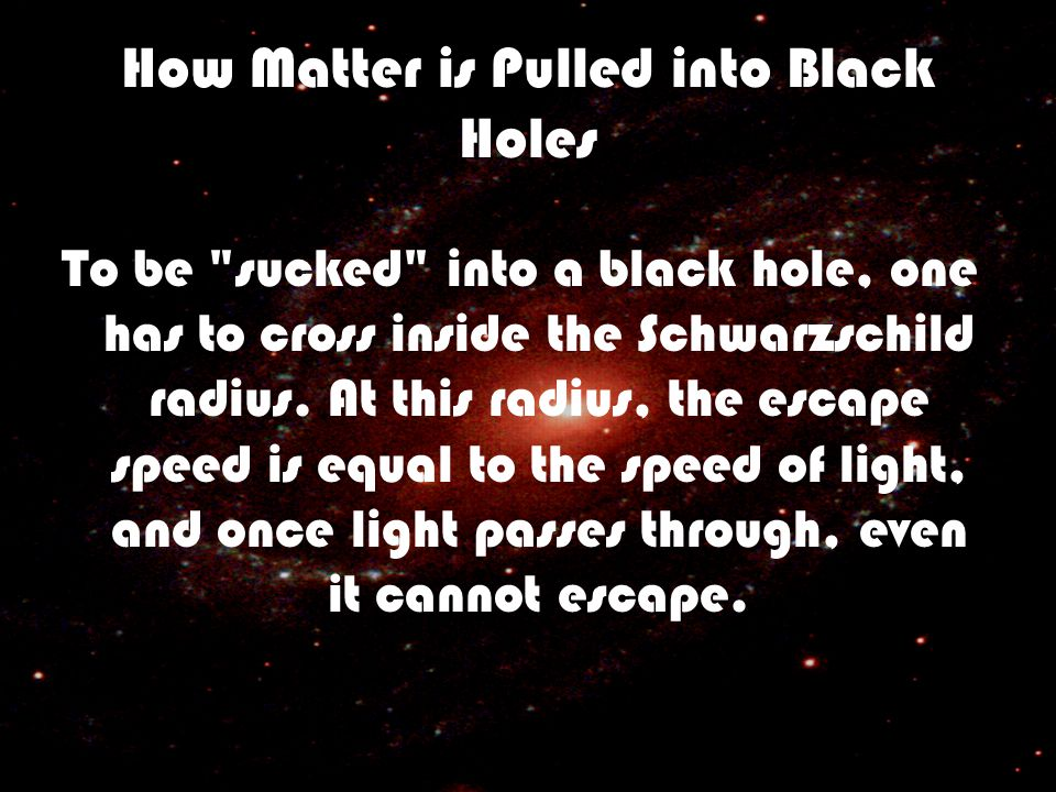 How Matter is Pulled into Black Holes To be