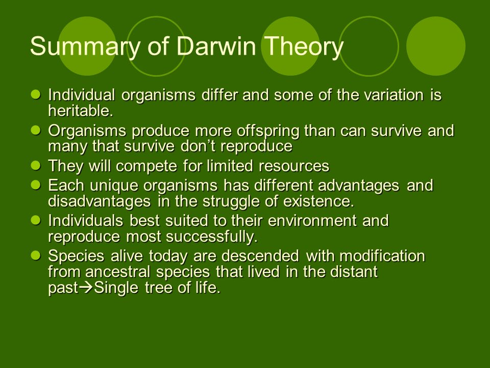Summary of Darwin Theory Individual organisms differ and some of the variation is heritable. Individual organisms differ and some of the variation is