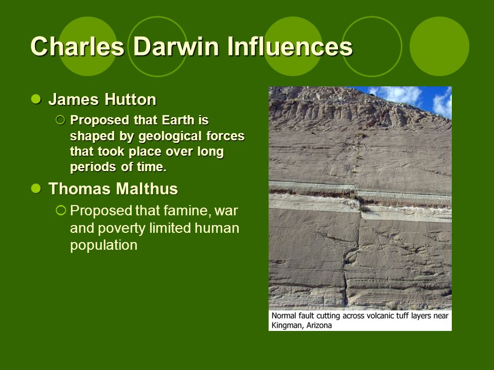 Charles Darwin Influences James Hutton James Hutton Proposed that Earth is shaped by geological forces that took place over long periods of time.