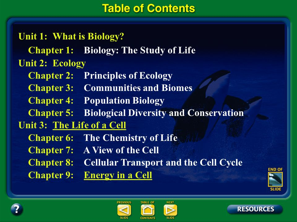Table of Contents – pages iv-v Unit 1: What is Biology.