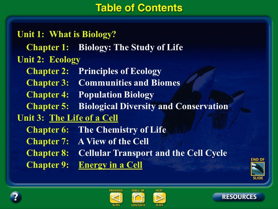 Table of Contents – pages iv-v Unit 1: What is Biology? Unit 2: Ecology Unit 3: The Life of a CellThe Life of a Cell Unit 4: Genetics Unit 5: Change T