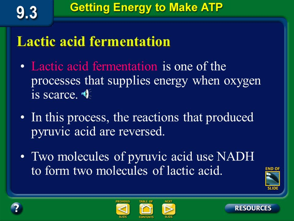 Section 9.3 Summary – pages 231-237 Fermentation During heavy exercise, when your cells are without oxygen for a short period of time, an anaerobic process called fermentation follows glycolysis and provides a means to continue producing ATP until oxygen is available again.