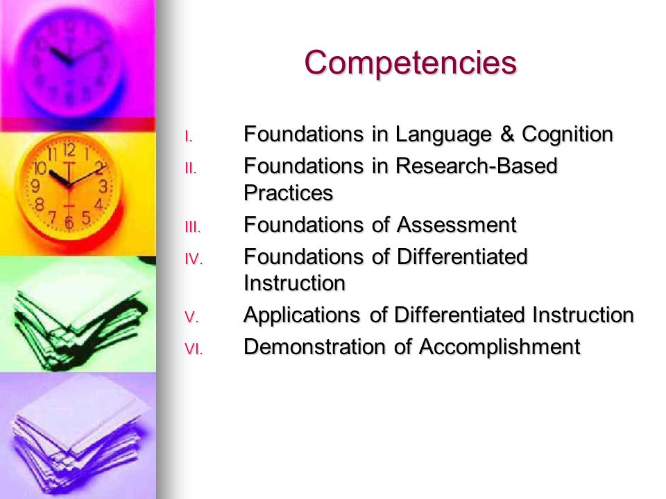 State Board Rule 6A-4.0292 An inservice program will focus on topics of study for each of the six competencies that were developed to align with the t