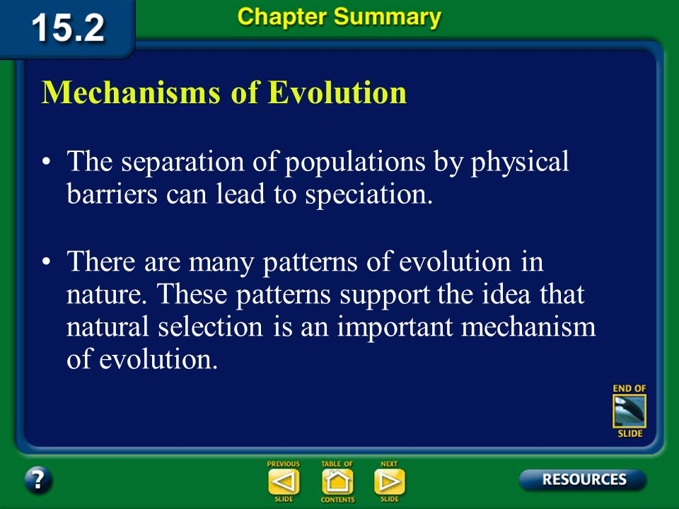 Chapter Summary – 15.2 Evolution can occur only when a populations genetic equilibrium changes. Mutation, genetic drift, and gene flow can change a po