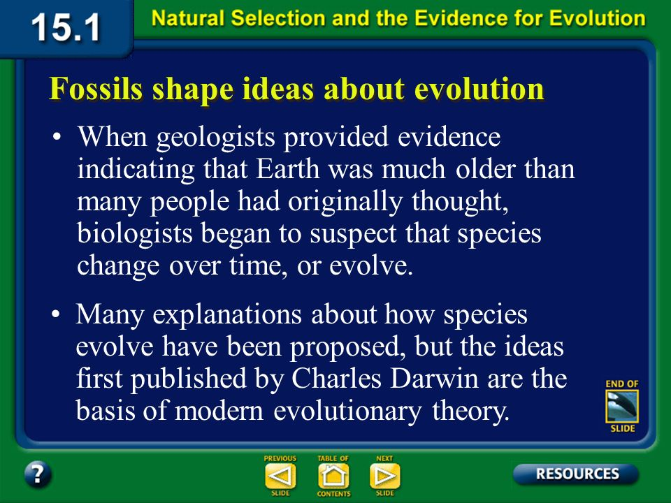 Section 15.1 Summary – pages 393-403 The modern theory of evolution is the fundamental concept in biology. Recall that evolution is the change in popu