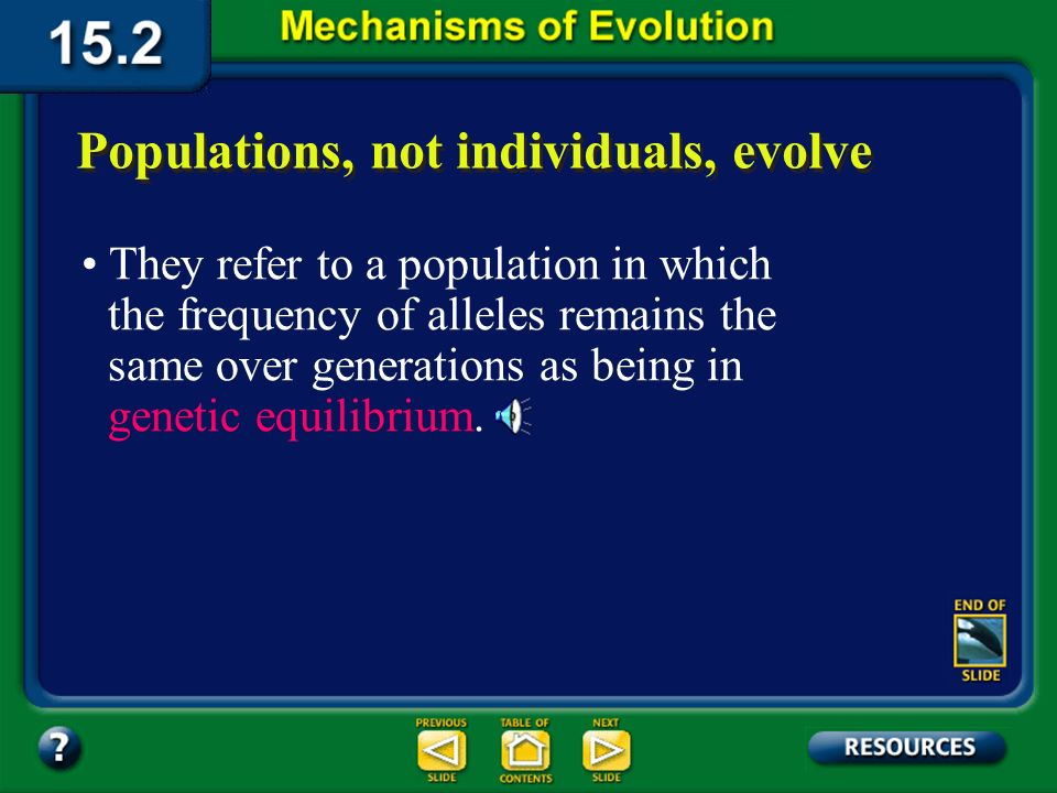 Section 15.2 Summary– pages 404-413 How can a populations genes change over time? Populations, not individuals, evolve Picture all of the alleles of t