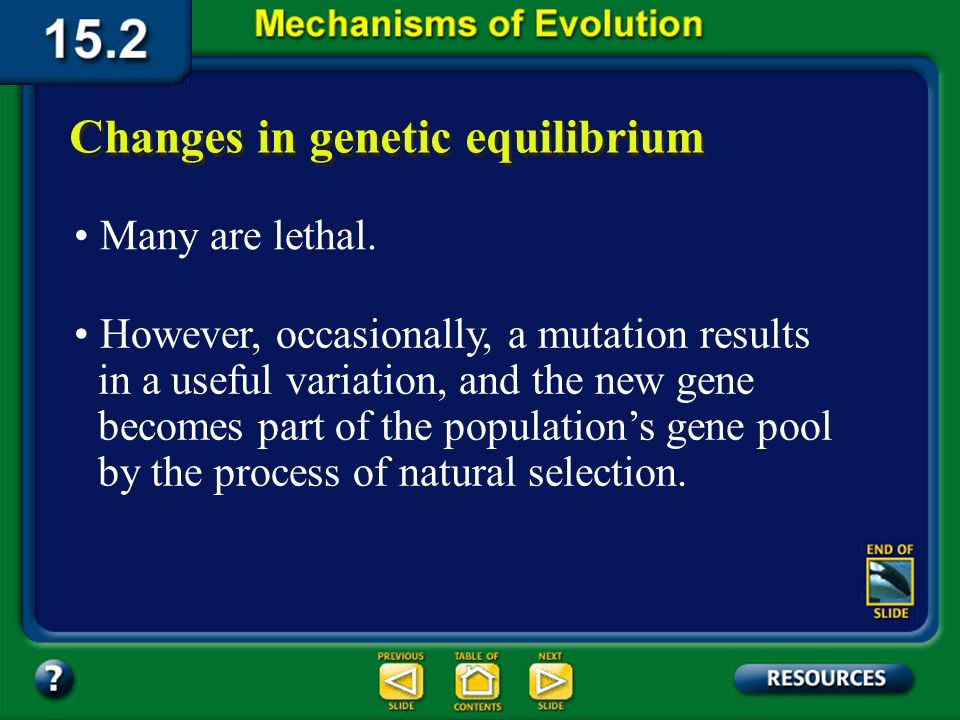Section 15.2 Summary– pages 404-413 One mechanism for genetic change is mutation. Changes in genetic equilibrium Environmental factors, such as radiat