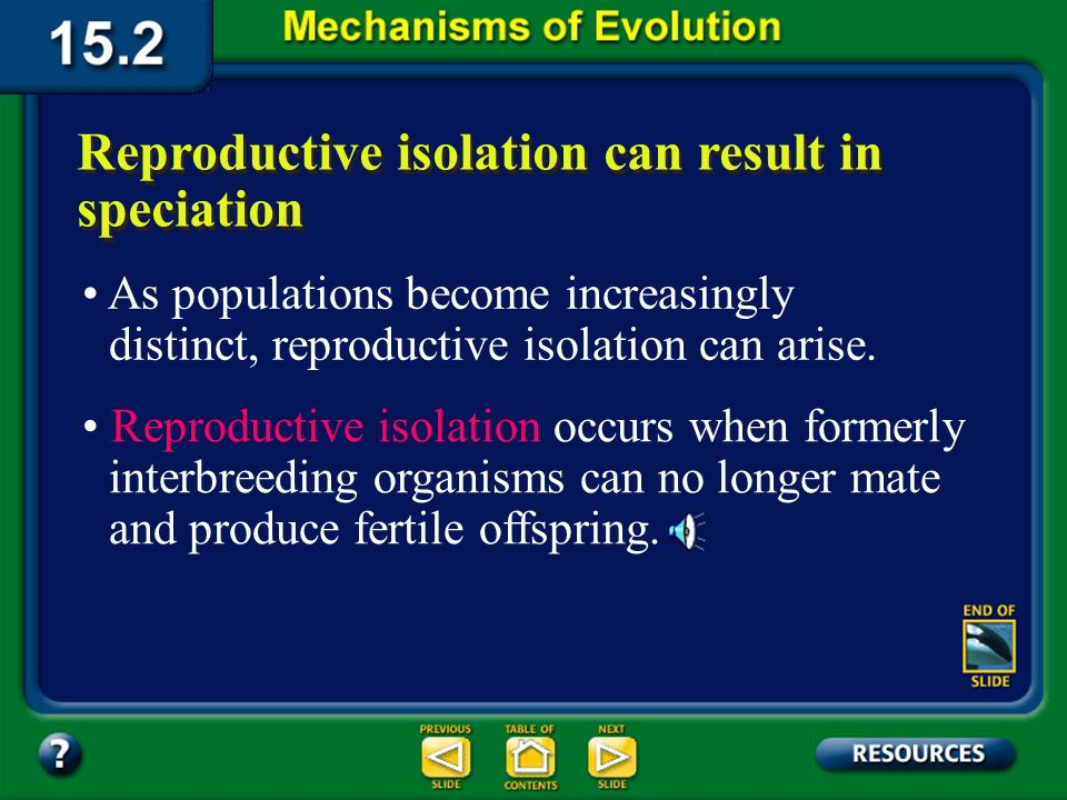 Section 15.2 Summary– pages 404-413 The Evolution of Species Over time, the divided populations may become two species that may no longer interbreed,