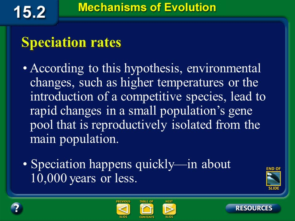 Section 15.2 Summary– pages 404-413 Speciation rates Loxodonta africana Elephas maximus Mammuthus primigenius Mammuthus Elephas Loxodonta Primelephas