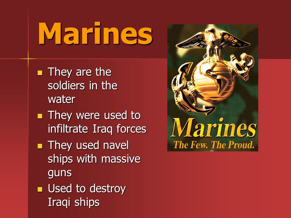 Marines They are the soldiers in the water They are the soldiers in the water They were used to infiltrate Iraq forces They were used to infiltrate Iraq forces They used navel ships with massive guns They used navel ships with massive guns Used to destroy Iraqi ships Used to destroy Iraqi ships