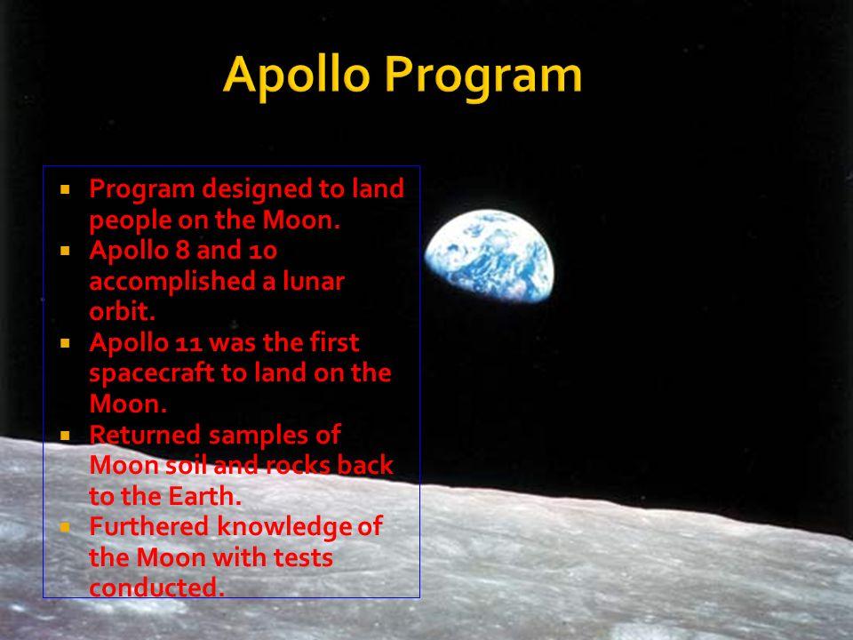Apollo Program Program designed to land people on the Moon.