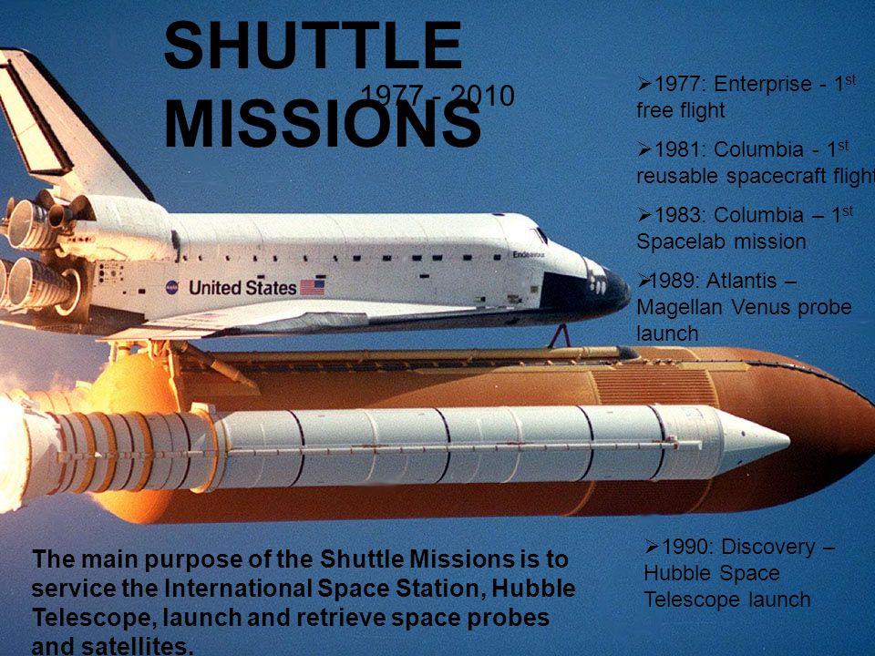 SHUTTLE MISSIONS 1977 - 2010 1977: Enterprise - 1 st free flight 1981: Columbia - 1 st reusable spacecraft flight 1983: Columbia – 1 st Spacelab missi