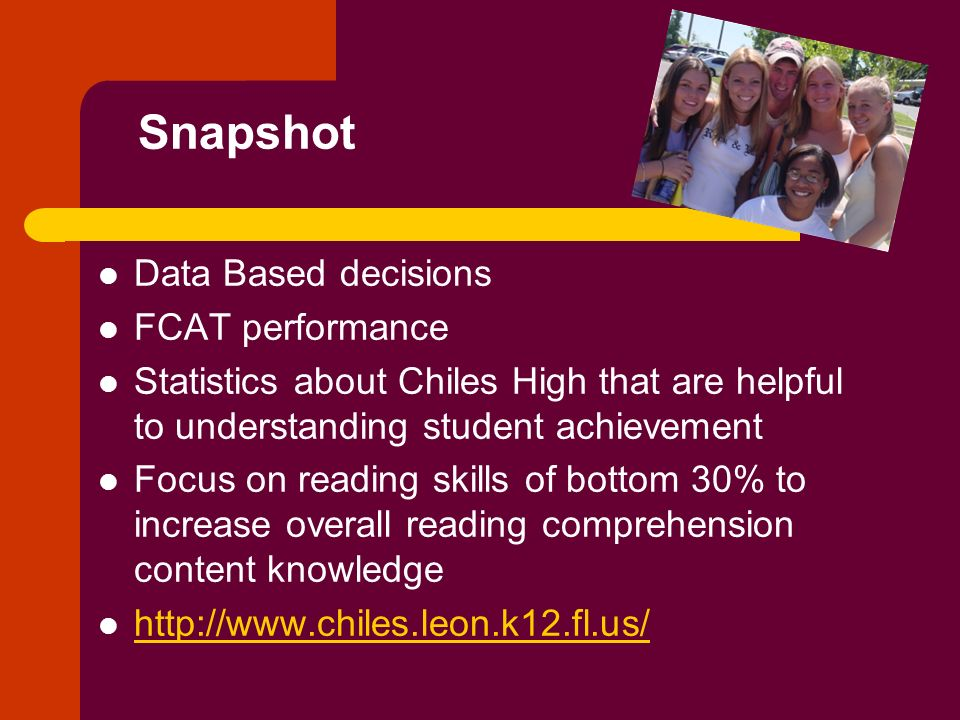 Snapshot Data Based decisions FCAT performance Statistics about Chiles High that are helpful to understanding student achievement Focus on reading ski