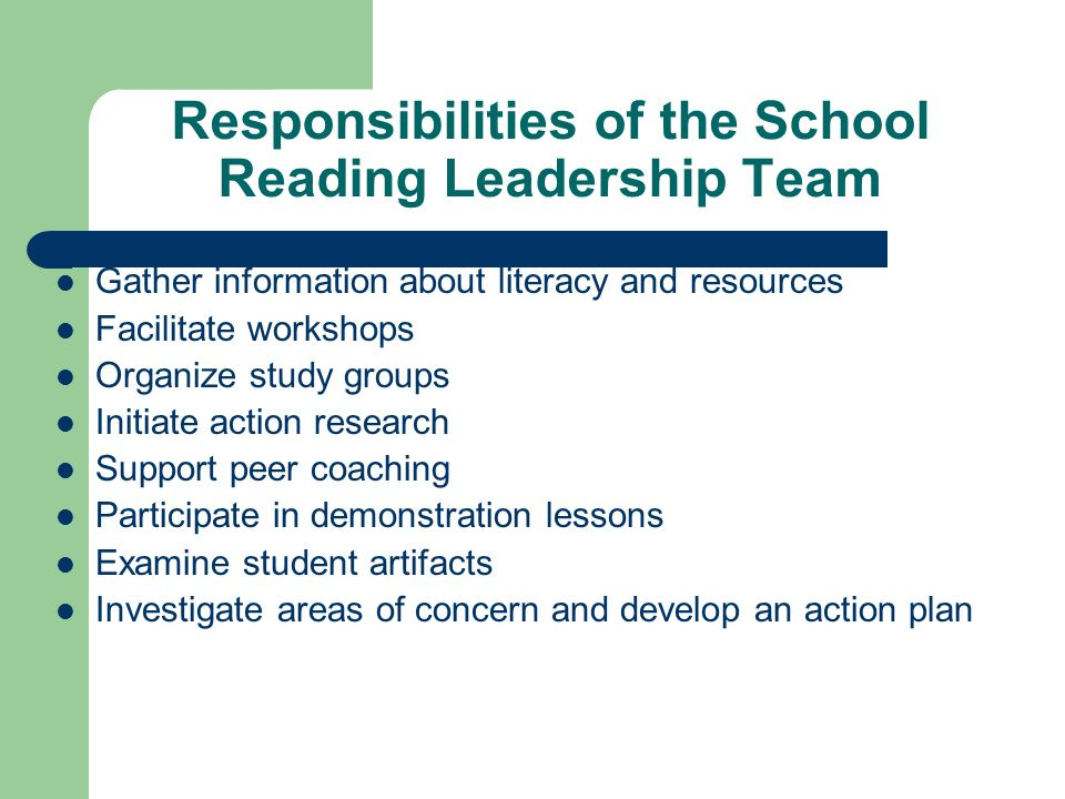 Responsibilities of the School Reading Leadership Team Gather information about literacy and resources Facilitate workshops Organize study groups Init