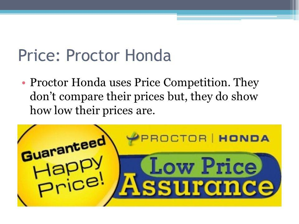 Price: Proctor Honda Proctor Honda uses Price Competition. They dont compare their prices but, they do show how low their prices are.