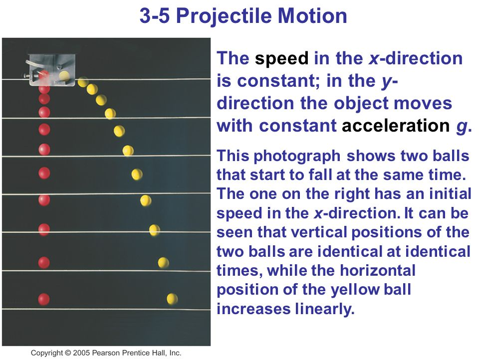 The speed in the x-direction is constant; in the y- direction the object moves with constant acceleration g. This photograph shows two balls that star