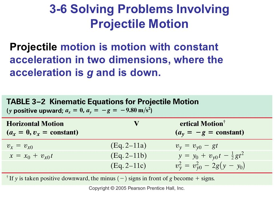 3-6 Solving Problems Involving Projectile Motion Projectile motion is motion with constant acceleration in two dimensions, where the acceleration is g