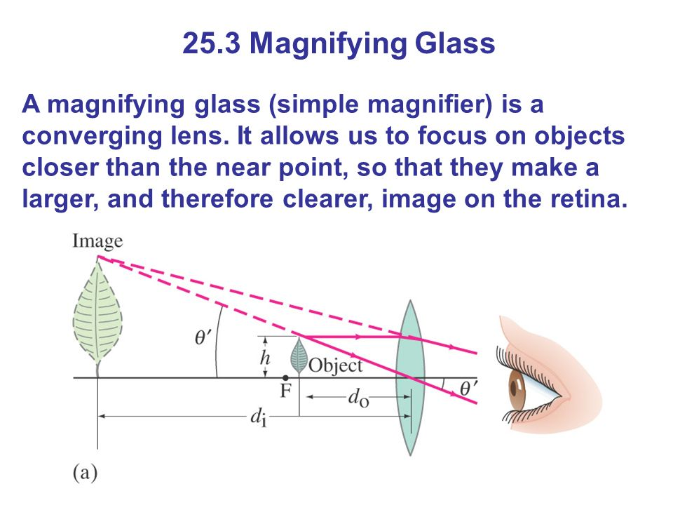 25.3 Magnifying Glass A magnifying glass (simple magnifier) is a converging lens.