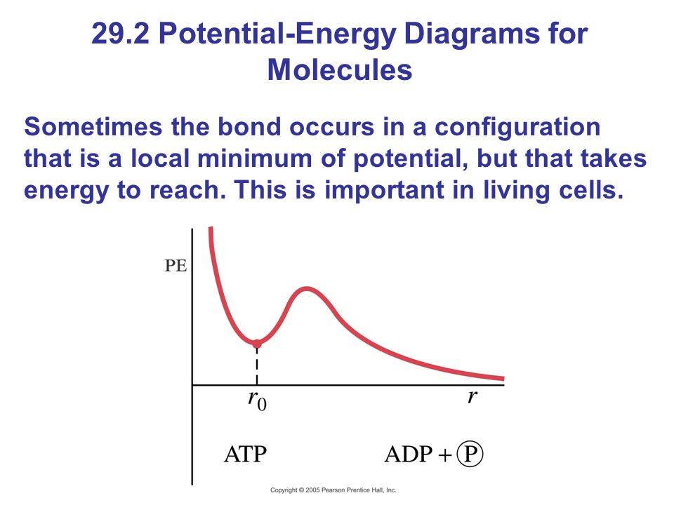 29.2 Potential-Energy Diagrams for Molecules Sometimes the bond occurs in a configuration that is a local minimum of potential, but that takes energy to reach.