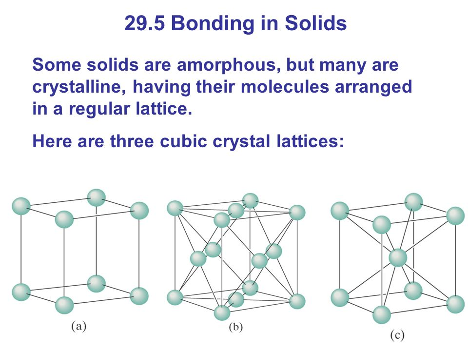 29.5 Bonding in Solids Some solids are amorphous, but many are crystalline, having their molecules arranged in a regular lattice.