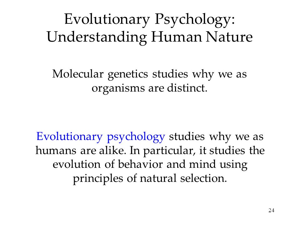 24 Evolutionary Psychology: Understanding Human Nature Molecular genetics studies why we as organisms are distinct.